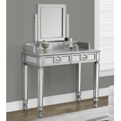 Monarch Specialties Brushed Silver/Mirrored Vanity with 2 Drawers, 36-Inch