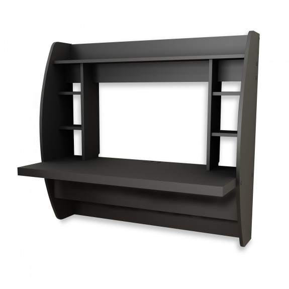Prepac Broadway Floating Desk With Storage In Black