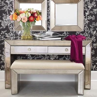 Bassett Mirror T2624-841EC Murano Bench in Mirror