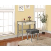 Linon Harper Vanity Set in Silver w/ Pewter Gray Fabric Stool