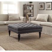 Linon Isabelle Charcoal Square Tufted Ottoman w/ Black Legs