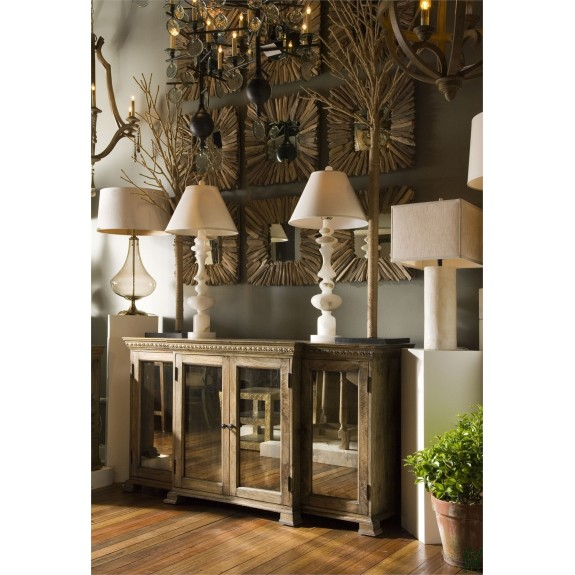 Currey And Company 3092 Ellis Buffet In Natural Wood/Black Patina/Antique  Mirror