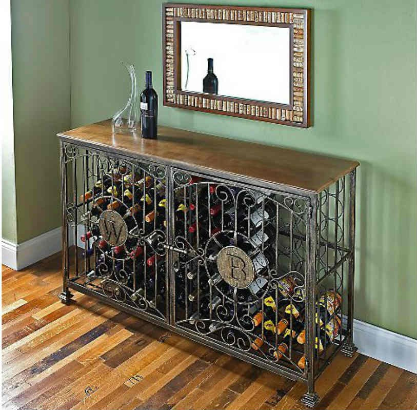 84 - Bottle Antiqued Steel Wine Jail Console