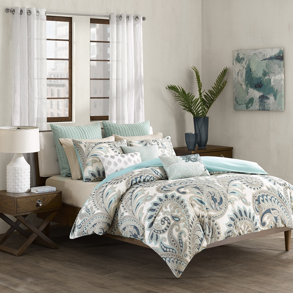 Ink+Ivy Mira 3 Piece Blue Comforter Mini Set
