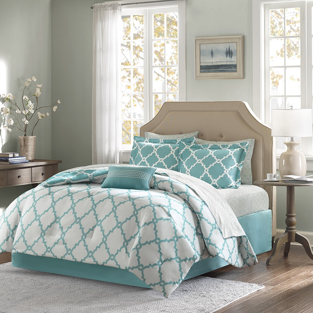 Madison park essentials aqua merritt complete bed and - Complete bedroom sets with mattress ...