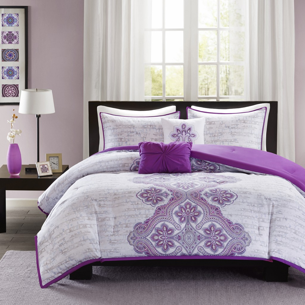 Intelligent Design Avani Purple Comforter Set