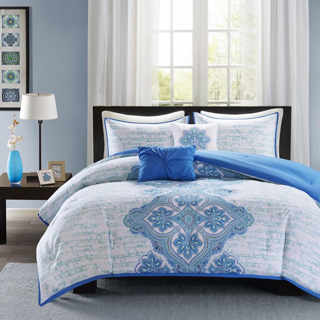 Intelligent Design Avani Blue Comforter Set ID10-252/ID10-253